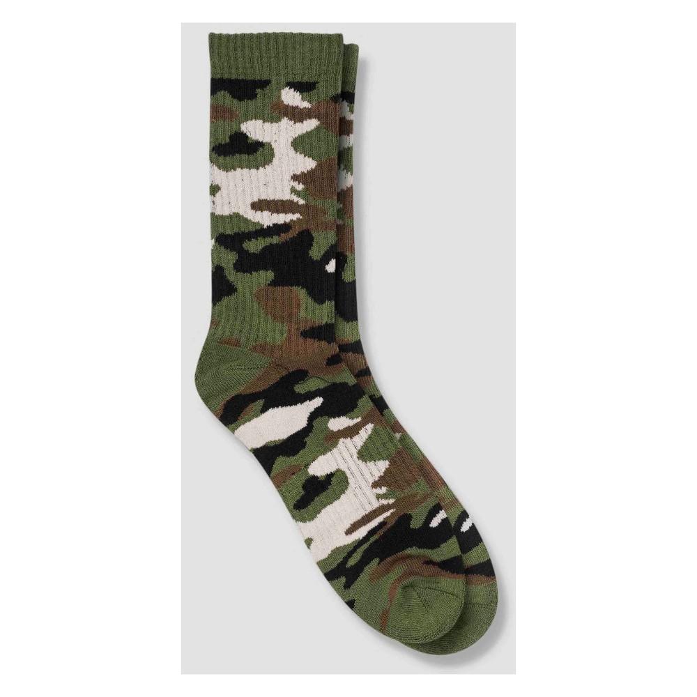 Image of Men's Camo Print Human Knowledge Crew Socks - Camo 6-12, Size: Small, MultiColored