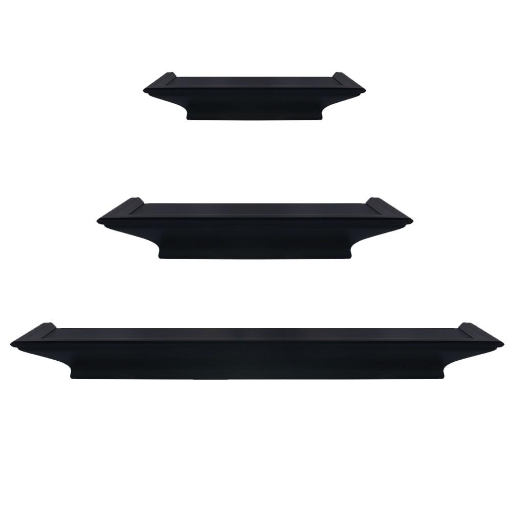 Image of Set of 3 Traditional Floating Ledge Shelf Set Black- Burnes of Boston