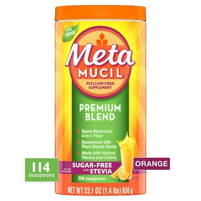 Metamucil Psyllium Fiber Powder Premium Blend Sugar-Free with Stevia Orange Flavor - 114tsp - 23.1oz