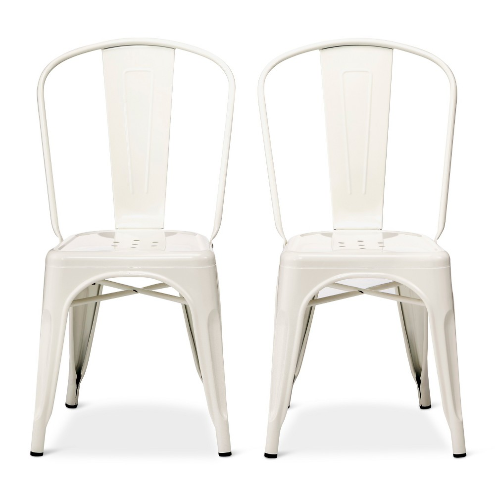 Image of Carlisle High Back Metal Dining Chair Set of 2 - White - Ace Bayou, Size: 2 Pack - Ships Flat