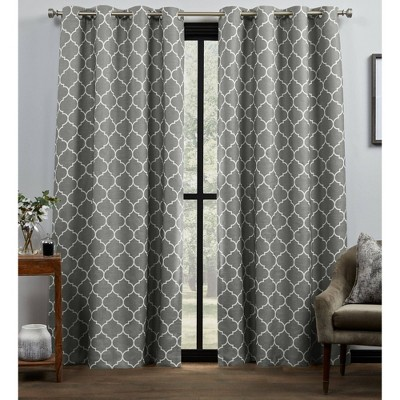 Set of 2 Bensen Trellis Total Blackout Grommet Top Curtain Panel - Exclusive Home