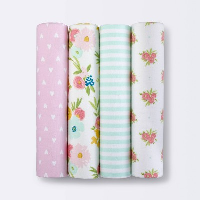 Flannel Baby Blankets Floral Fields 4pk - Cloud Island™