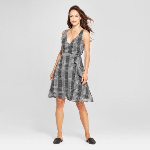 33a72b959c Women s Plaid Sleeveless Chiffon Tie Waist Dress - A New Day™ Black ...