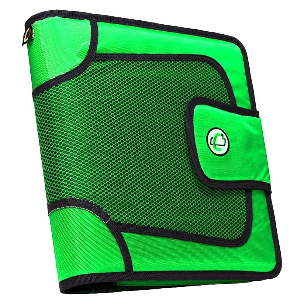 Case•it 2 3 Ring Binder with Zipper Cover 9 Pockets Green