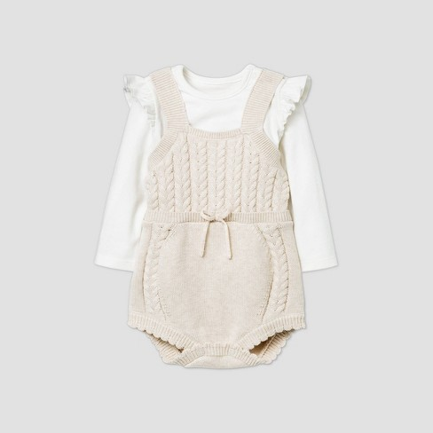 Baby Girls' Cable Romper - Cat & Jack™ Off-White/Beige - image 1 of 2