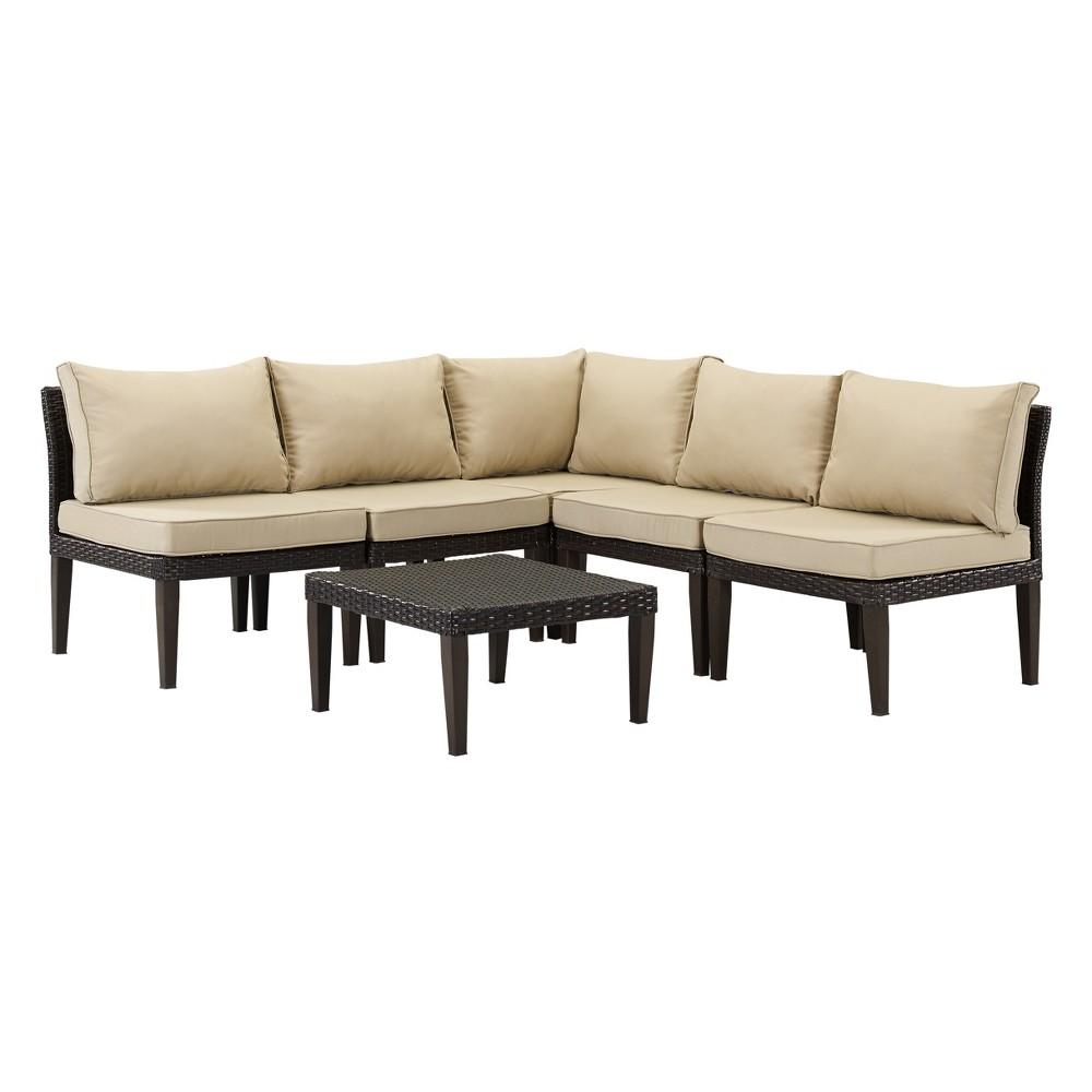Image of 6pc Amalfi Wicker Lounge Set Brown/Tan - DH Casual