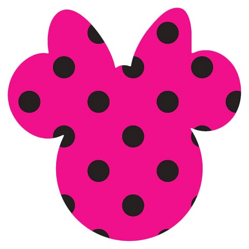 Disney Minnie Ears Small, Pink with black dots, Adhesive Printed Burlap, Pack of 6 - image 1 of 1