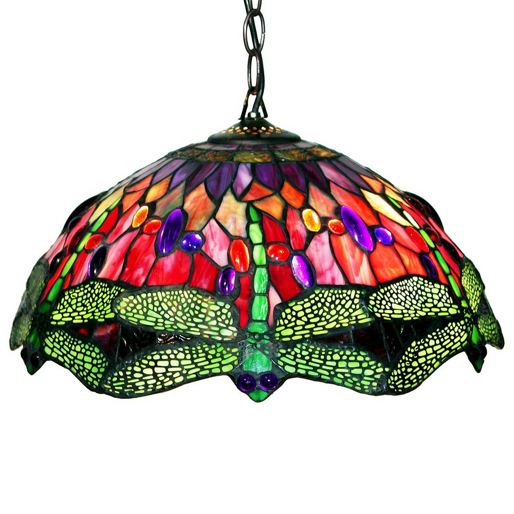 Tiffany-Style Stained Glass Dragonfly Ceiling Lamp, Multi-Colored
