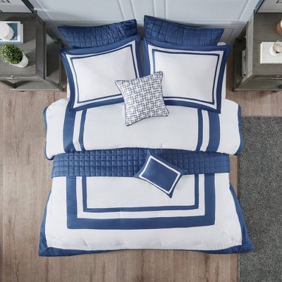 Lawrence King/California King 8pc Comforter and Coverlet Set Navy