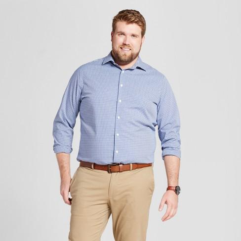 Men's Big & Tall Standard Fit Button-Down Dress Shirt - Goodfellow & Co™ Blue Plaid 4XB - image 1 of 3