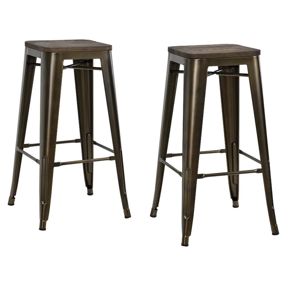 "Image of ""30"""" Fusion Metal Backless Bar Stool with Wood Seat (Set of 2) - Bronze - Dorel Home Products"""
