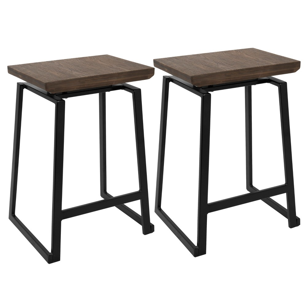 Set Of 2 Geo Industrial Counter Height Barstool Black Brown Lumisource