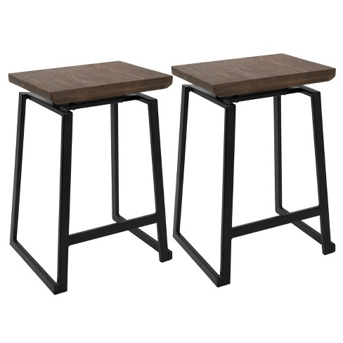 Set of 2 Geo Industrial Counter Stool Black/Brown - LumiSource - image 1 of 4