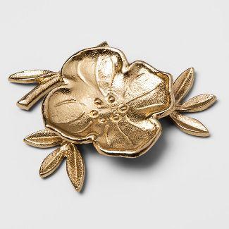 4.4u0022 x 1.1u0022 Decorative Cast Metal Floral Dish Gold - Opalhouse™