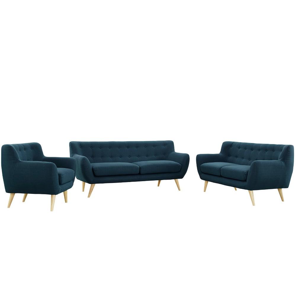 Remark 3pc Living Room Set Azure (Blue) - Modway