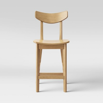 Astrid Mid-Century Counter Height Barstool Wood Seat Natural - Project 62™