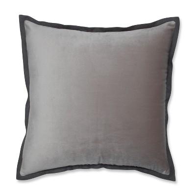 Pillow Perfect 18 x18  Velvet Flange Throw Pillow Gray