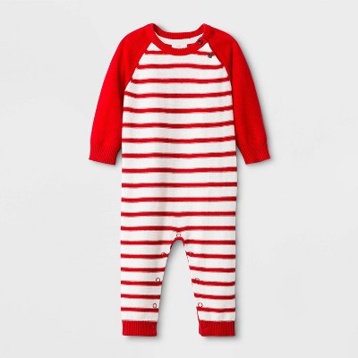 Baby Boys' Striped Sweater Romper - Cat & Jack™ Red 0-3M