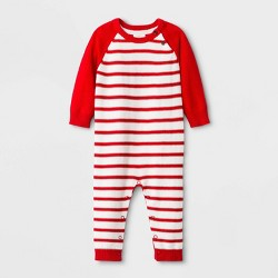 Baby Boys' Striped Sweater Romper - Cat & Jack™ Red