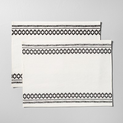 2pk Placemat with Embroidery Set of 2 - Black / White - Hearth & Hand™ with Magnolia