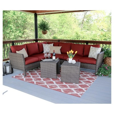Canton 6pc All-Weather Wicker Patio Corner Sectional Set - Leisure Made