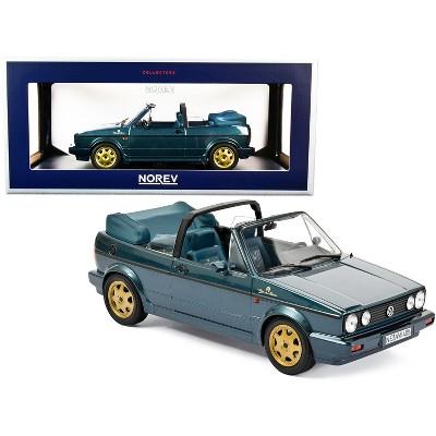 "1990 Volkswagen Golf Cabriolet ""Etienne Aigner"" Green Metallic with Gold Wheels 1/18 Diecast Model Car by Norev"