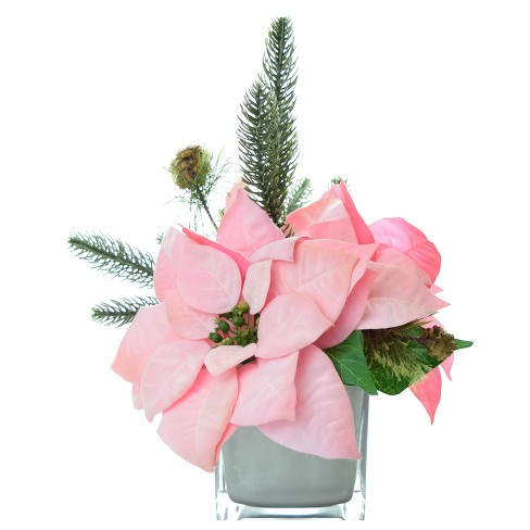 """Artificial Poinsettia Arrangement with Silver Glass Cube Vase Pink 9"""" - LCG Florals - image 1 of 1"""