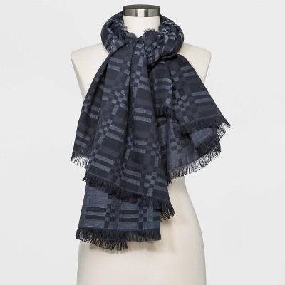 Women's Plaid Oversized Square Scarf - Universal Thread™ Metallic Gray