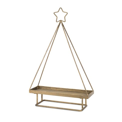 Melrose 19 5 Gold Brushed Antique Christmas Tree Tray With Bottom Stand And Star Top