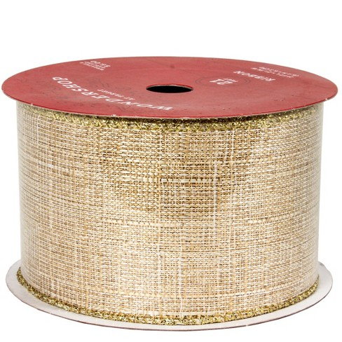 "2.5"" Faux Burlap With Gold Ribbon 21ft - Wondershop™ - image 1 of 1"