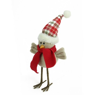 """Northlight 10"""" Beige Standing Bird with Scarf and Plaid Hat Christmas Tabletop Figure"""