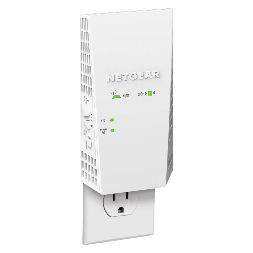 Netgear AC1900 WiFi Range Extender Essential Edition - White (EX6400) Your WiFi router may not reach as far as you'd hoped, so get the signal to stretch farther with this Netgear AC1900 WiFi Range Extender Essential Edition. Boost your range or create an access point to gain the coverage you need and stop those annoying dead zones from taking over the corners of your home. It even works great for HD streaming and gaming so you can watch or play uninterrupted. Color: White.