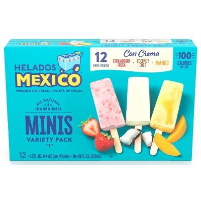 Helados Mexico Frozen Minis Fruit & Cream Variety Bars - 12ct