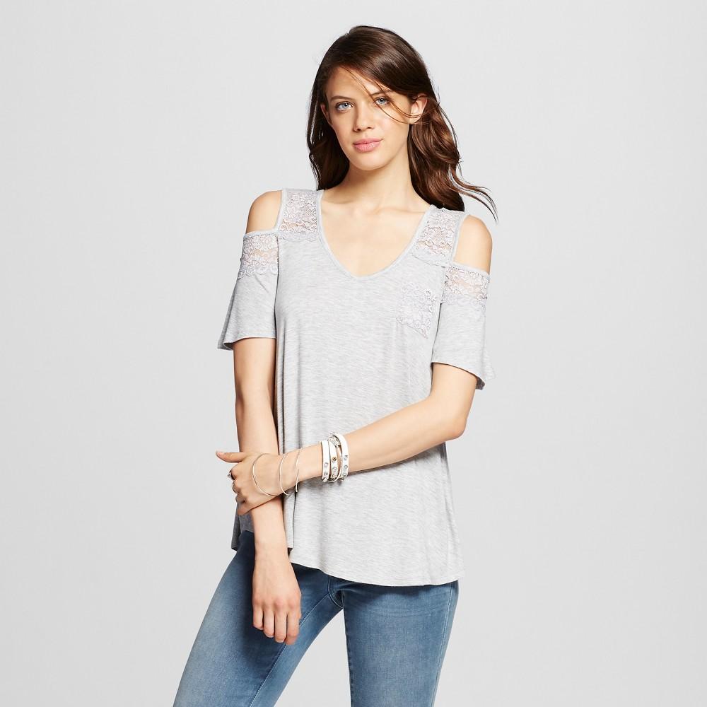 Women's Knit Cold Shoulder T-shirt - Xhilaration Heather Gray XL