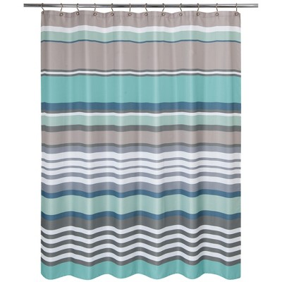 Nantucket Stripe Shower Curtain Aqua - Allure Home Creation