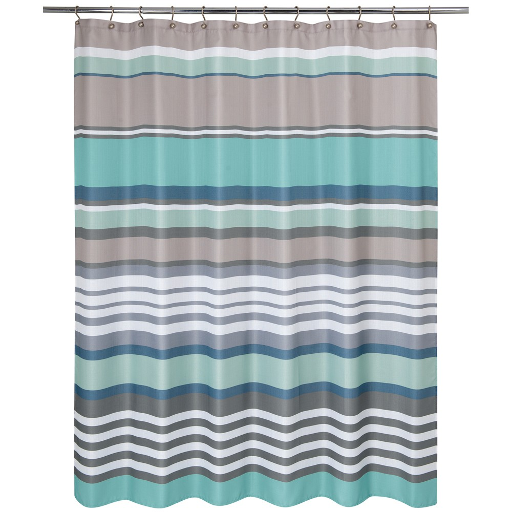 Image of Nantucket Stripe Shower Curtain Aqua (Blue) - Allure Home Creation
