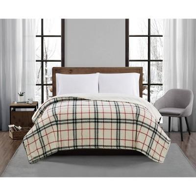 Plaid Print Plush Bed Blanket - London Fog