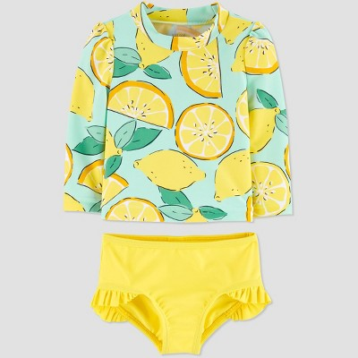 Baby Girls' Lemon Swim Rash Guard Set - Just One You® made by carter's Yellow 9M