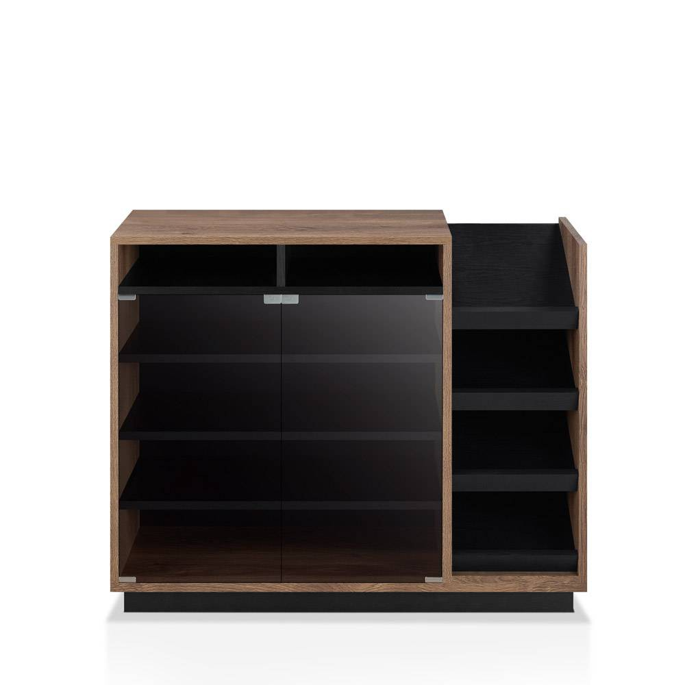 Image of Iohomes Glaspie Transitional Shoe Cabinet Distress Walnut and Black - Homes: Inside + Out, Distressed Walnut