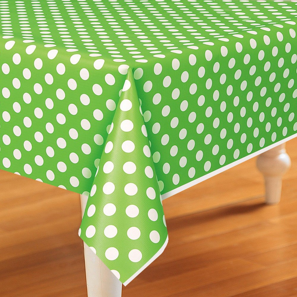 Image of Green & White Polka Dot Rectangle Tablecover