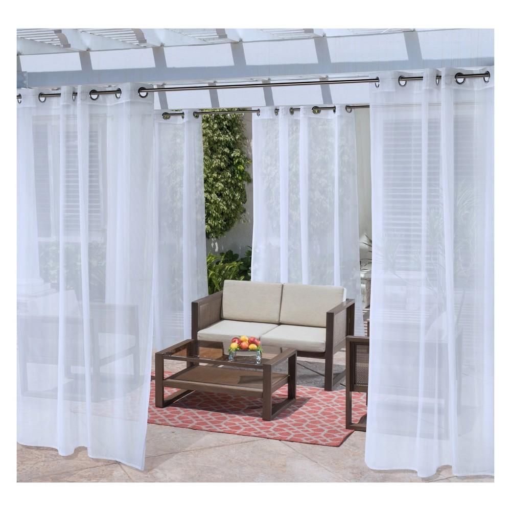 "Image of ""50""""x108"""" No Se'em Grommet Top Solid Mesh Indoor/Outdoor Curtain Panel White - Outdoor Décor"""