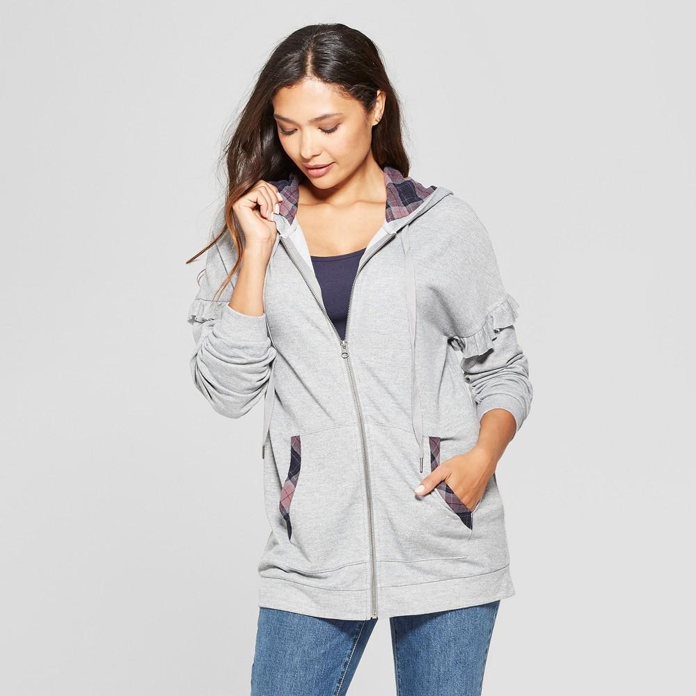 Women's Zip Front Ruffle Sleeve Hoodie - Knox Rose Gray S