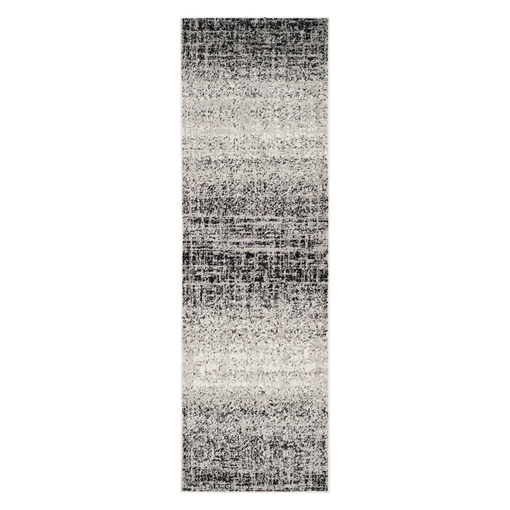 2'6X6' Spacedye Design Runner Silver/Black - Safavieh