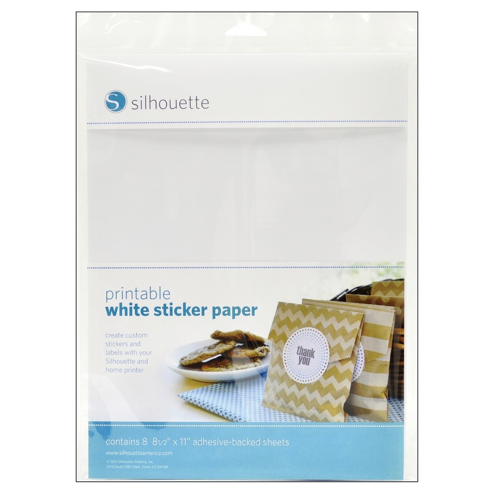 Silhouette Printable Sticker Paper 8ct - White, Multi-Colored Silhouette OF America-Printable White Sticker Paper. Print text and designs on these sheets of white sticker paper and use your Silhouette (not included) to cut them out. This package contains eight 8-1/2x11 inch adhesive sheets. Imported. Color: Multi-Colored.