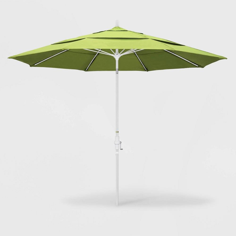 Image of 11' Sun Master Patio Umbrella Collar Tilt Crank Lift - Sunbrella Parrot - California Umbrella