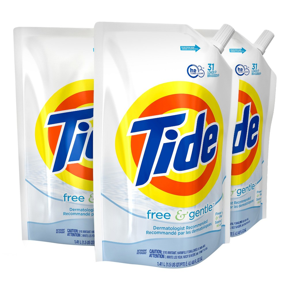Tide Free & Gentle Liquid Laundry Detergent - 48 fl oz 3pk