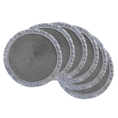 6pk Plastic Fringed Placemats Gray - Design Imports