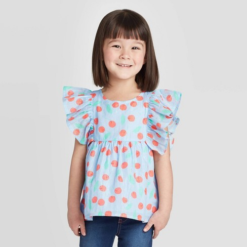 Toddler Girls' Cherry Woven Blouse with Shine - Cat & Jack™ Blue - image 1 of 3