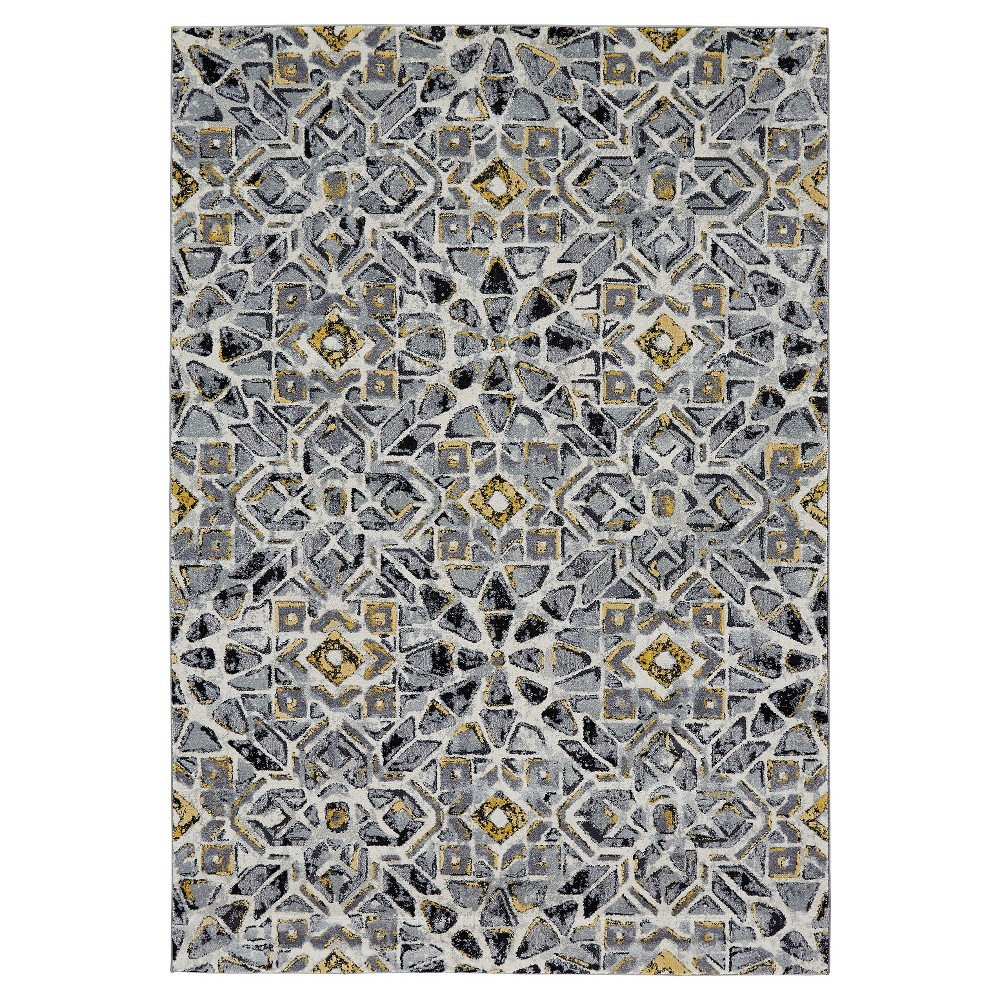 Cloudy Gray Geometric Woven Area Rug - (10'X13'2) - Room Envy