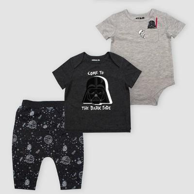 Baby Boys' Star Wars Darth Vader 3pc Set Top and Bottom Sets - Gray 3M